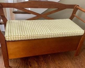 49.5w x 17.5d x 29h Armed Storage Bench with Cushion Seat $145