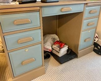 """49""""w × 23""""d ×29.5""""h Painted wood Desk with 7 drawers & work surface on each side below top $115"""