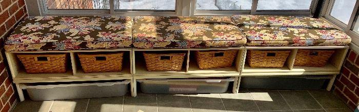 3 Mud room Benches  w/Storage toto, 2 storage basket & top cushion $48 ea