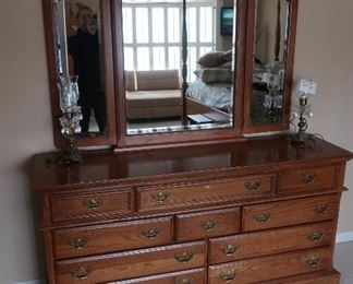 dresser with  beveled  mirror-part  of  bedroom  set   66  x  18