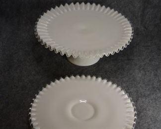 White milk glass cake plates