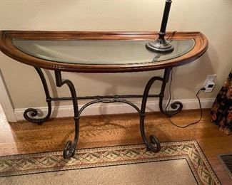 """Wood, metal and glass console table 54""""w x 32"""" h x 19"""" d"""