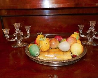 Collection Vintage Italian Marble Fruit, Pr. Glass Candlesticks