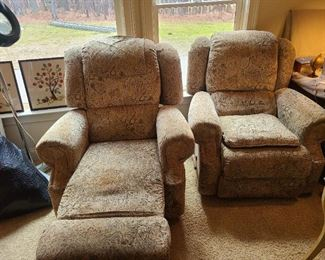 Matching recliners; 1980's; some wear