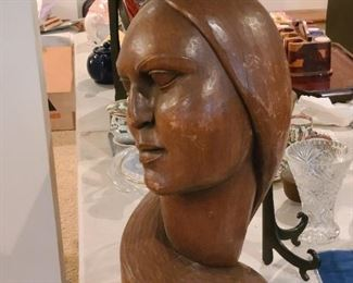 "9"" tall solid wooden head carved by A Von Egger who was a local artist age born 1890,s 1900"