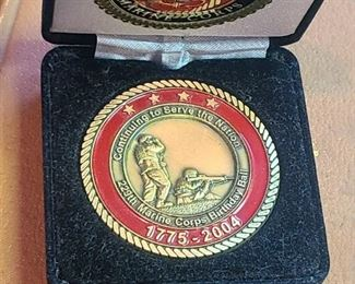 "U.s. Marine corp coin;commemorates 1775-2004 service; "" Continuing to Serve the Nation"""