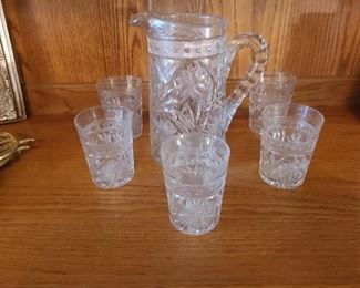 nice leaded crystal set of pitcher and 5 glasses