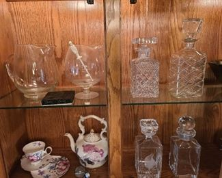 Some excellent crystal decanters ( one is Waterford)
