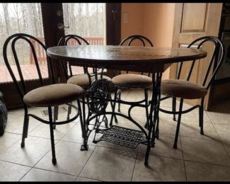 Hand Made Sewing machine base Kitchen table 4 chairs