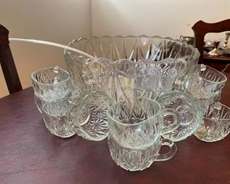 Square Glass punch bowl set