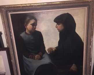 very large antique oil painting of two woman, unsigned but master work for sure