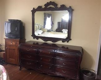 the dresser and mirror mahogany part of full bedroom set signed designer  with two night stands, full headboard and footboard and tall dresser
