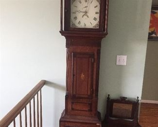 antique 19th century grandfather clock with inlay and hand painted face, signed Prew , with letter inside as to provenance. very early clock all original