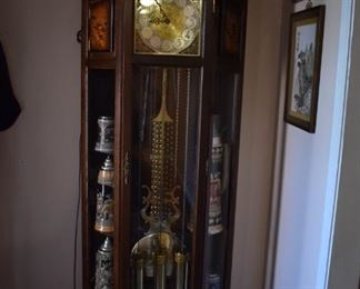 Tempus Fugit Curio Grandfather Clock made in Germany with lighted Curved Glass Curio - Gorgeous!
