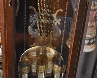 Tempus Fugit Curio Grandfather Clock made in Germany with lighted Curved Glass Curio - Gorgeous!  with Magnificently looking Pendulum  and Weights