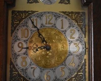 Tempus Fugit Curio Grandfather Clock made in Germany with lighted Curved Glass Curio - Gorgeous! An upclose picture of the Beautiful Face of this Clock.