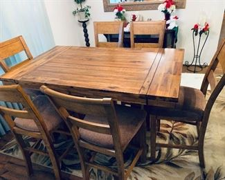 Pub Style Dining Room Table W/Leaf & 6 Chairs $450