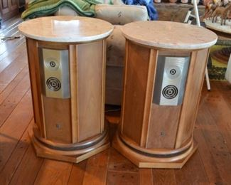 Mid Century ModernMCM 1960s marble top coffee table & 2 side/speaker tables with Empire model 9000 speakers