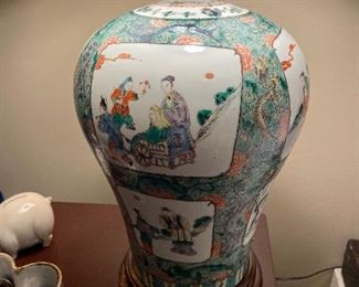 another view of antique urn lamp