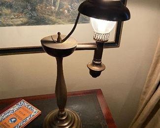 Hurricane style vintage brass lamp. $40