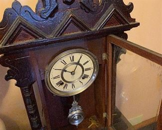 Antique Ansonia 8 Day, Hand Carved Mahogany Clock