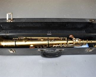"""Vintage True-Tone Saxophone with the following imprinted on the Horn. """"True-Tone trade mark registered LOW PITCH, License, Pat.d,   C. 19"""