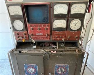 Sun Automotive diagnostic machine, oscillascope does not work, great conversation piece for workshop, many smaller testing parts works, includes electronic specs for all American autos in the 60's or 70's, willing to wheel and deal on this so it rolls out sold!