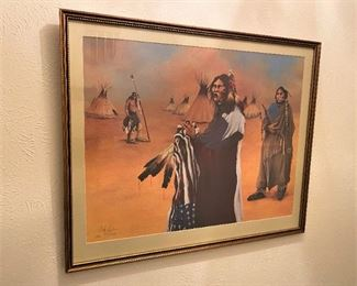 FRAMED NATIVE AMERICAN SIGNED AND NUMBERED PRINT BY NAVAJO ARTIST ROBERT TAYLOR