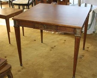 "square writing desk - single drawer on each side could be used as game table made by Baker Furniture Co. 33 3/4"" by 33 3/4"" - asking  $395.00"