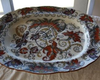 "very large Antique Staffordshire Ironstone Platter circa 1880 - 21 1/4"" long 17 1/2"" wide (wonderful condition) - Asking $325.00"