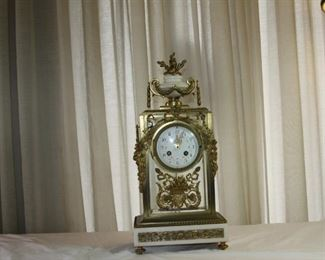 antique 19 c. brass marble clock - Asking $495
