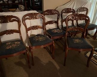 Set of 6 dining chairs with needlepoint seats