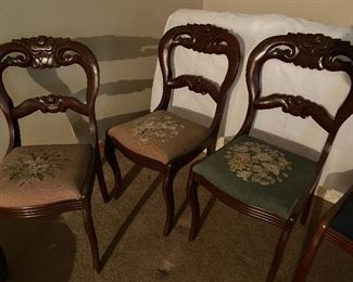 set of 3 dining chairs VERY similar to previous 6, also with needlepoint seats