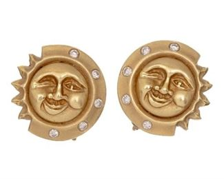 18k Gold Moon Face French Clip Earrings, weight: 17.8 grams
