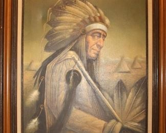 Oil painting of Native American Chief -