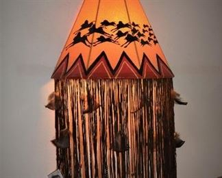 """A hand made original work of art - Native American Wall Lamp; signed by the Cherokee Native American Indian artist, Jeff """"Bluewater"""" Hophix."""