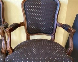 set of 4 black and multicolor polka dot chairs