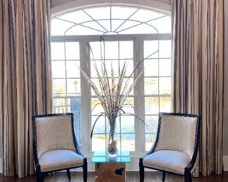 Chairs, custom drapes, side table, & arrangement