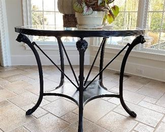 Lions head center table with glass top