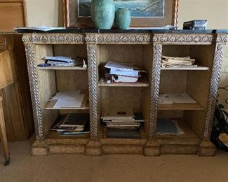 Bookcase with stone top
