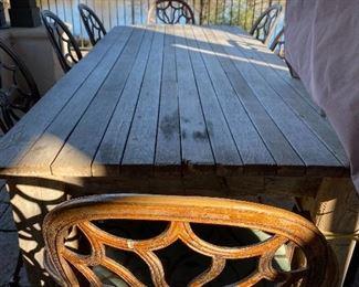Custom wood outdoor table & metal chairs