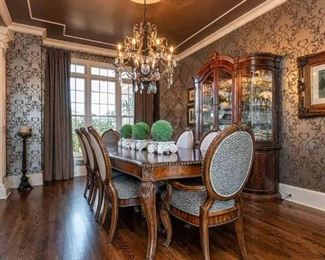 Schnadig Dining Room Furniture, Table with leaf, 8 chairs, China Cabinet, Sideboard.