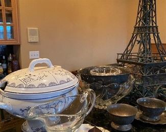 Various serving pieces, silver-plated bowls, crystal & more
