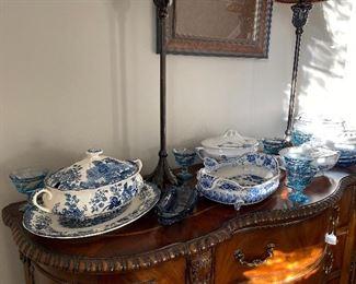 Palissy Avon Blue & White, Delft & other serving pieces. Blue Banana Split & Dessert set