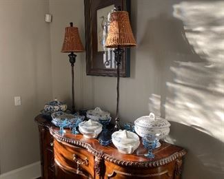 Berman Iron Buffet Lamps with woven shades