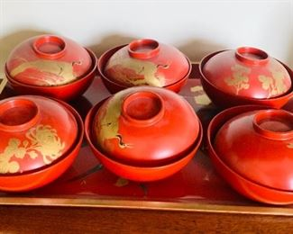 Set of 6 Asian lidded bowls $60