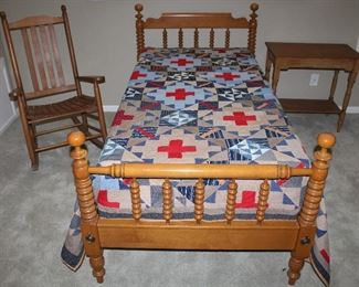 """Willett Furniture Lancaster PA Amish Made Hand Crafted Solid Maple  Twin Spool Bed (1 of 2) shown with Handmade/Hand Quilted Patchwork Quilt. Solid Oak Slat Back Rocker and an Antique Yellow Pine Occasional/Side Table (30""""W x 17""""D x 28""""H)"""