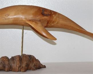 """Hand Carved Whale on Burl Wood Stand Signed by Artist J.N. Green 1989. (19""""L x 10""""H with stand)"""