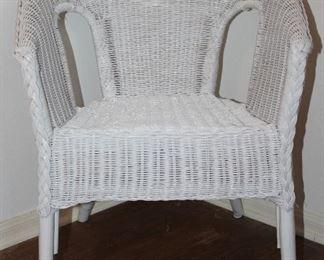 White Wicker Barrel Arm Chair