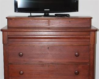 """Antique Solid Wood Hand Dove Tailed Gentleman's Chest.  2 SmallDrawers (Gloves Box) over 4 Drawers, I Hidden Draw and 3 Deep Drawers with Original Key/Lock (42""""W x 19 1/4""""D x 42 1/4""""H (overall).  Also Shown Samsung 32"""" Flat Screen TV 403 Series Model # LN32D403E20"""